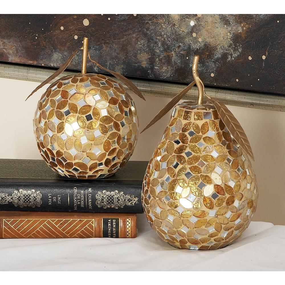 Gold Iron and Silver Reflective Glass Mosaic Pear and Apple Decor