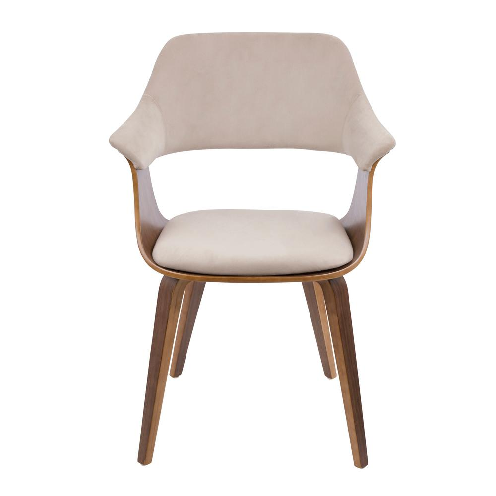 Lumisource Lucci Walnut And Tan Velvet Dining Chair Ch