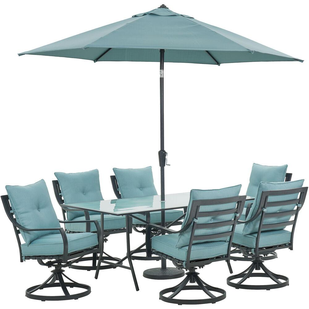 6ab158d2131f Lavallette 7-Piece Steel Outdoor Dining Set with Ocean Blues Cushions,  Swivel Rockers, Table, Umbrella and Base