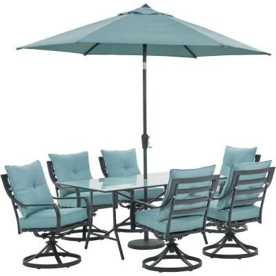 Lavallette 7-Piece Steel Outdoor Dining Set with Ocean Blues Cushions, Swivel Rockers, Table, Umbrella and Base