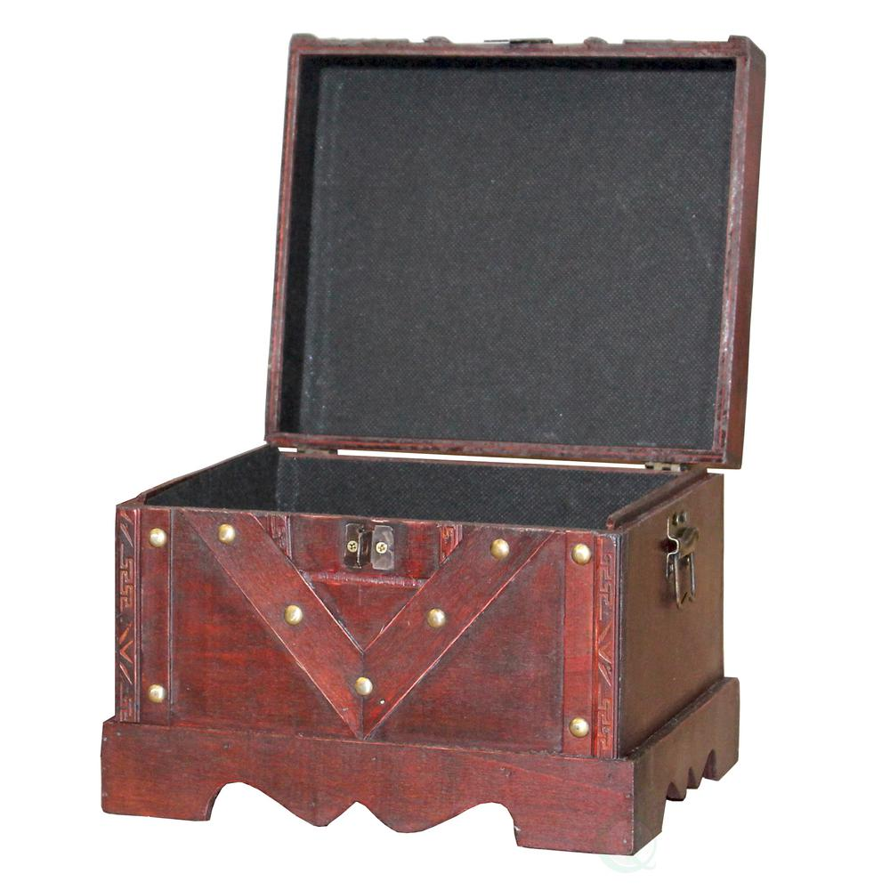 Vintiquewise Small Wooden Antique Cherry Storage Trunk