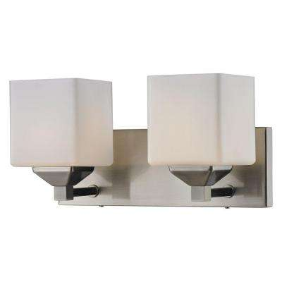 Lawrence 2-Light Brushed Nickel Steel Modern Bath Light with Matte Opal Glass Shades