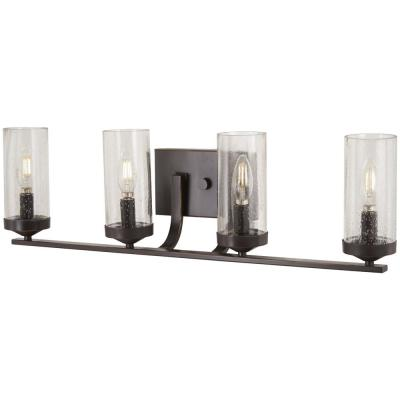 Elyton 4-Light Downtown Bronze with Gold Highlights Bath Light with Clear Seedy Glass