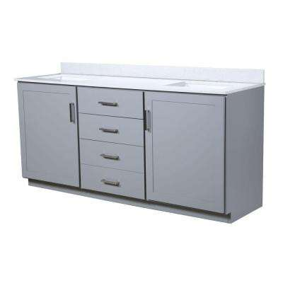 Liverpool 72.5 in. W x 22 in. D Vanity in Light Gray with Quartz Vanity Top in White with White Basin