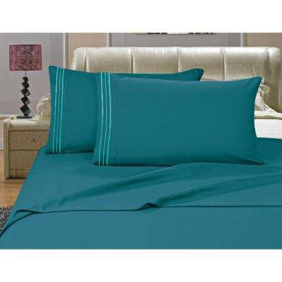 1500 Series 4 Piece Turquoise Triple Marrow Embroidered Pillowcases  Microfiber King Size Bed Sheet Set