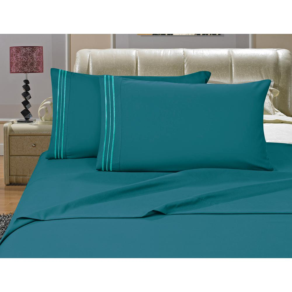 Captivating Elegant Comfort 1500 Series 4 Piece Turquoise Triple Marrow Embroidered  Pillowcases Microfiber Queen Size Bed