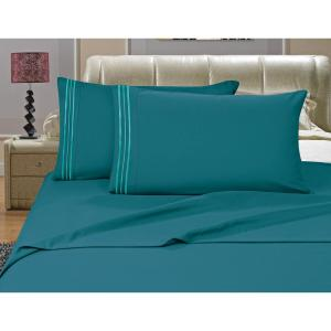 elegant comfort 1500 series 4 piece turquoise triple marrow embroidered pillowcases microfiber twin xl size bed sheet set v01 tw turquois the home depot
