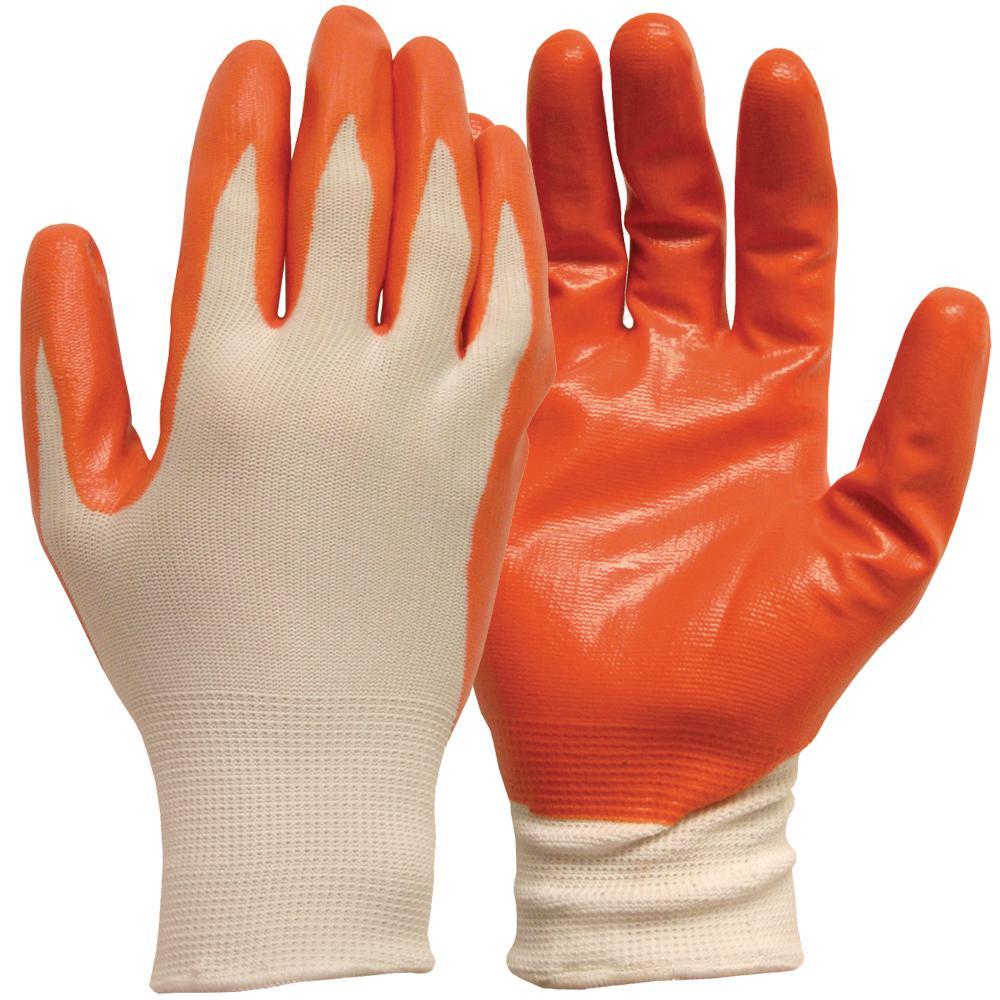 General Purpose Medium White with Orange Nitrile Coated (5-Pair)