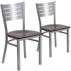 Walnut Wood Seat Silver Frame Restaurant Chairs Set Of 2
