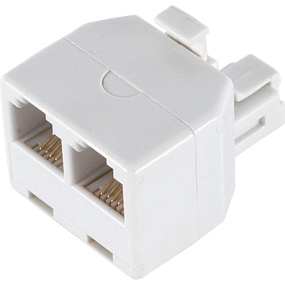 Power Gear 2-Way 4-Conductor Phone Splitter, White-76191 - The Home Depot | X 31 Phone Jack Wiring |  | The Home Depot
