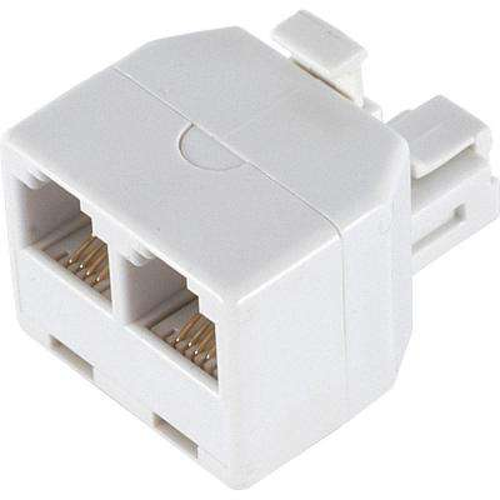 2-Way 4-Conductor Phone Splitter, White