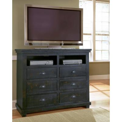 Willow 6-Drawer Distressed Black Media Chest of Drawers