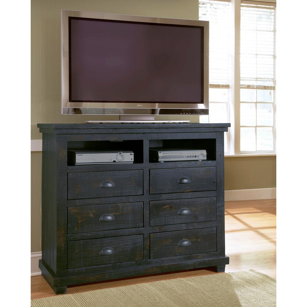 Progressive Furniture Willow 6-Drawer Distressed Black Media Chest P612-46
