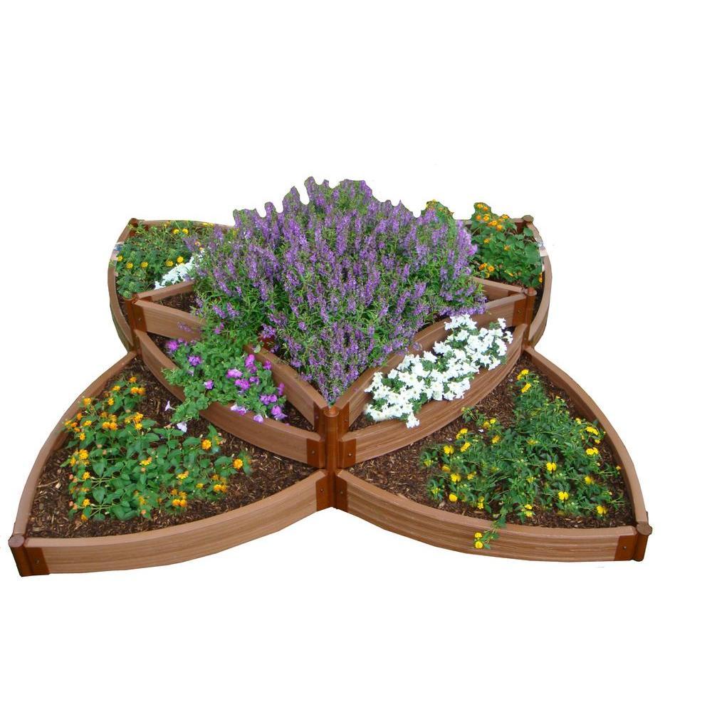 Two Inch Series 8 ft. x 8 ft. x 16.5 in. Versailles Sunburst Classic Sienna Composite Raised Garden Bed Kit