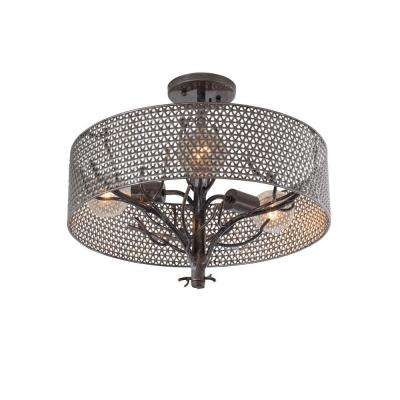 Treefold 3-Light Steel Flushmount with Recycled Steel Mesh