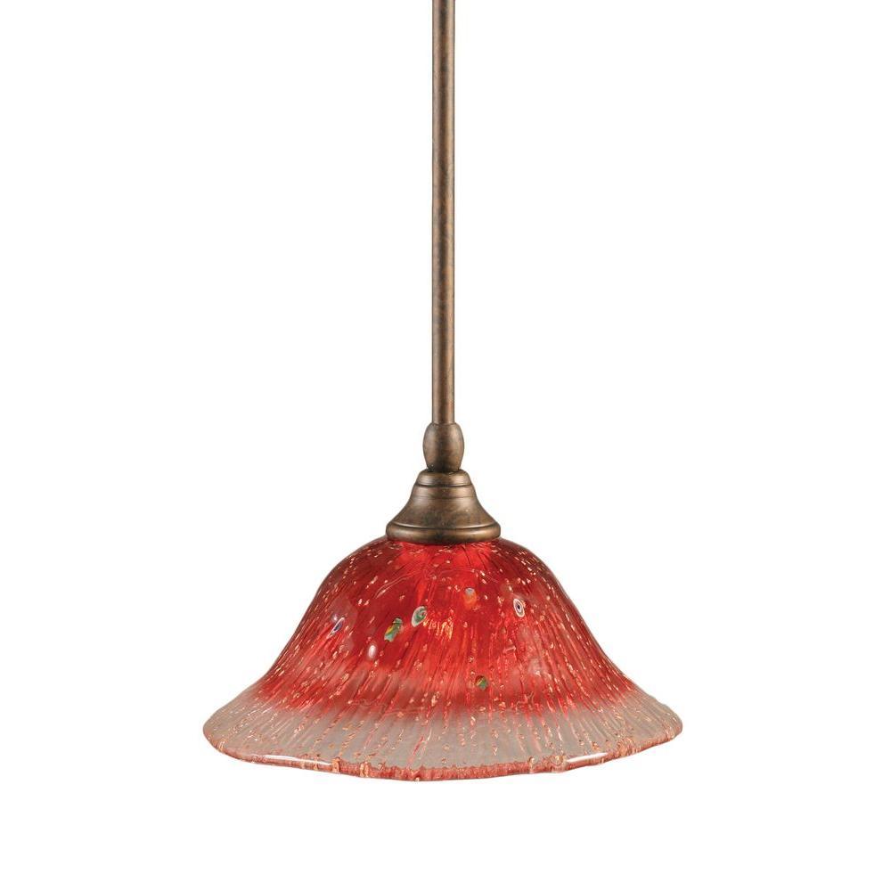1-Light Bronze Pendant with Raspberry Crystal Glass