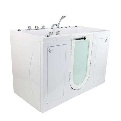 Tub4Two 60 in. Walk-In Whirlpool and Air Bathtub in White, LH Outward Door, Heated Seat, Thermostatic Faucet, Dual Drain