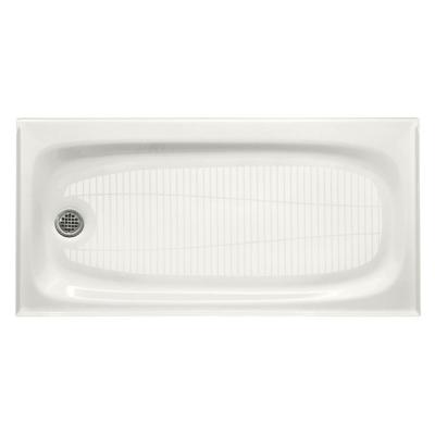 Salient 60 in. x 30 in. Cast Iron Single Threshold Shower Base with Left-Hand Drain in White