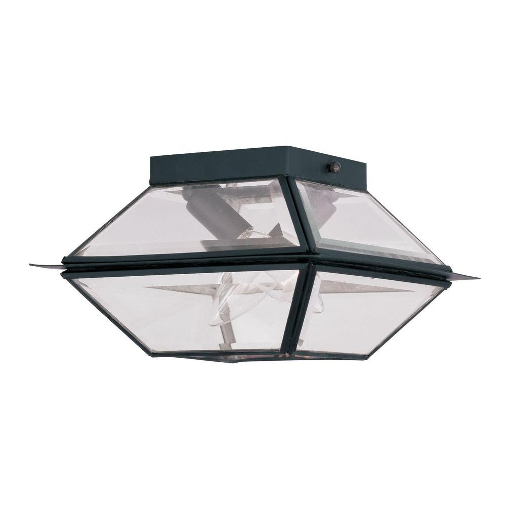 Livex Lighting Providence 2-Light Black Outdoor Incandescent Hanging Lantern