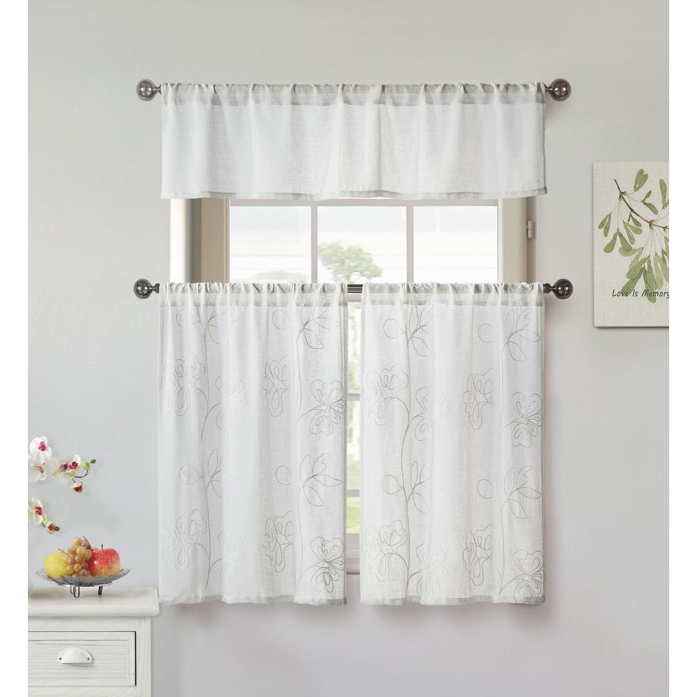 Home Maison Katness White Kitchen Curtain Set 58 In W X 15 In L In 3 Piece Katn 11491d 12 The Home Depot