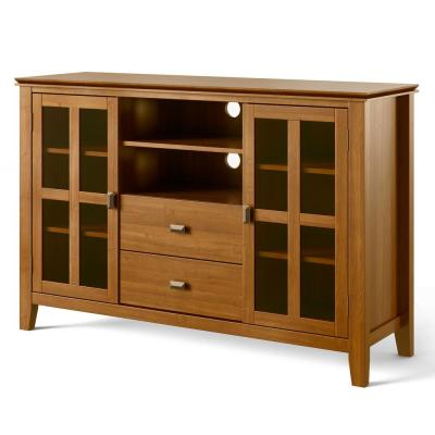 Artisan Solid Wood 53 in. Wide Contemporary TV Media Stand in Honey Brown For TVs up to 55 in.