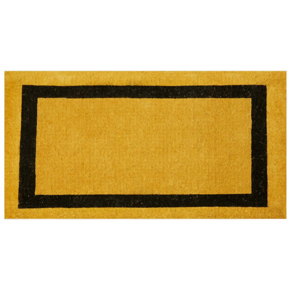 Black Classic Border 48 in. x 30 in. Coir Door Mat