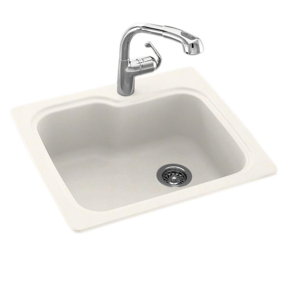 SWAN Dual Mount Composite 25 in. 1-Hole Single Bowl Kitch...