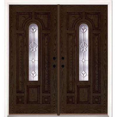 74 in. x 81.625 in. Medina Zinc Center Arch Lite Stained Walnut Oak Right-Hand Fiberglass Double Prehung Front Door