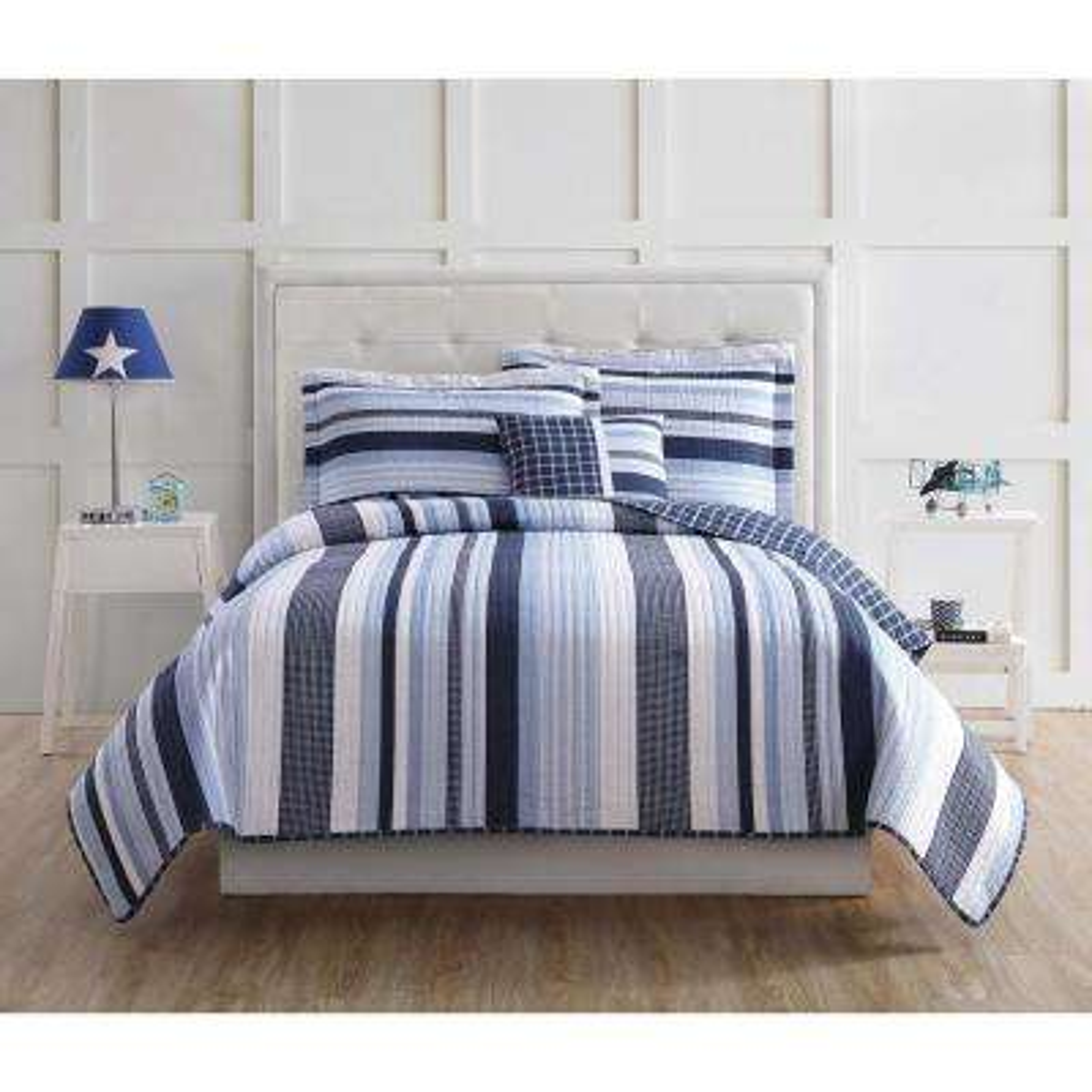 Mason Stripe Blue and White Twin Quilt Set with BONUS Decorative Pillow