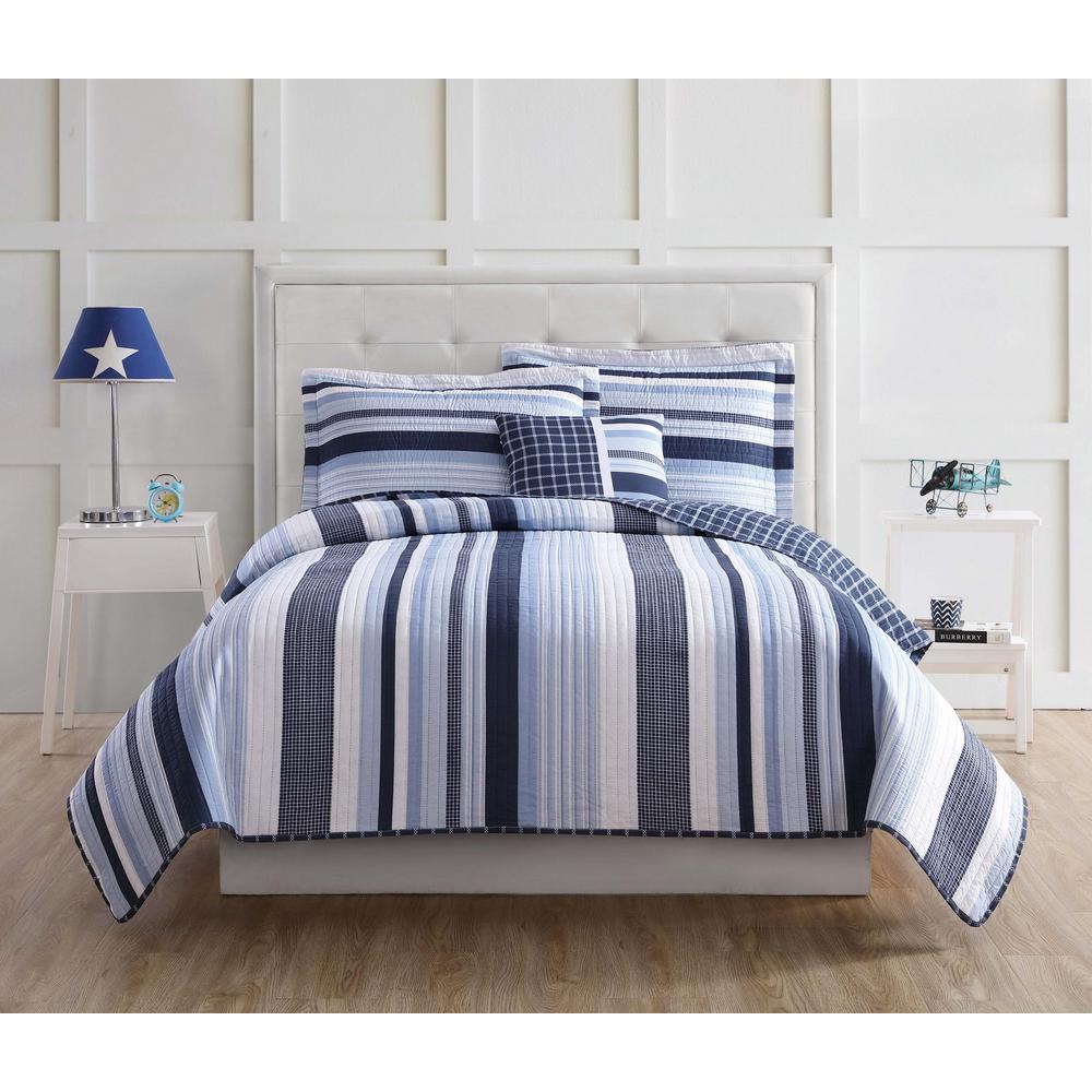 Mason Stripe 4-Piece Blue and White Full Quilt Set