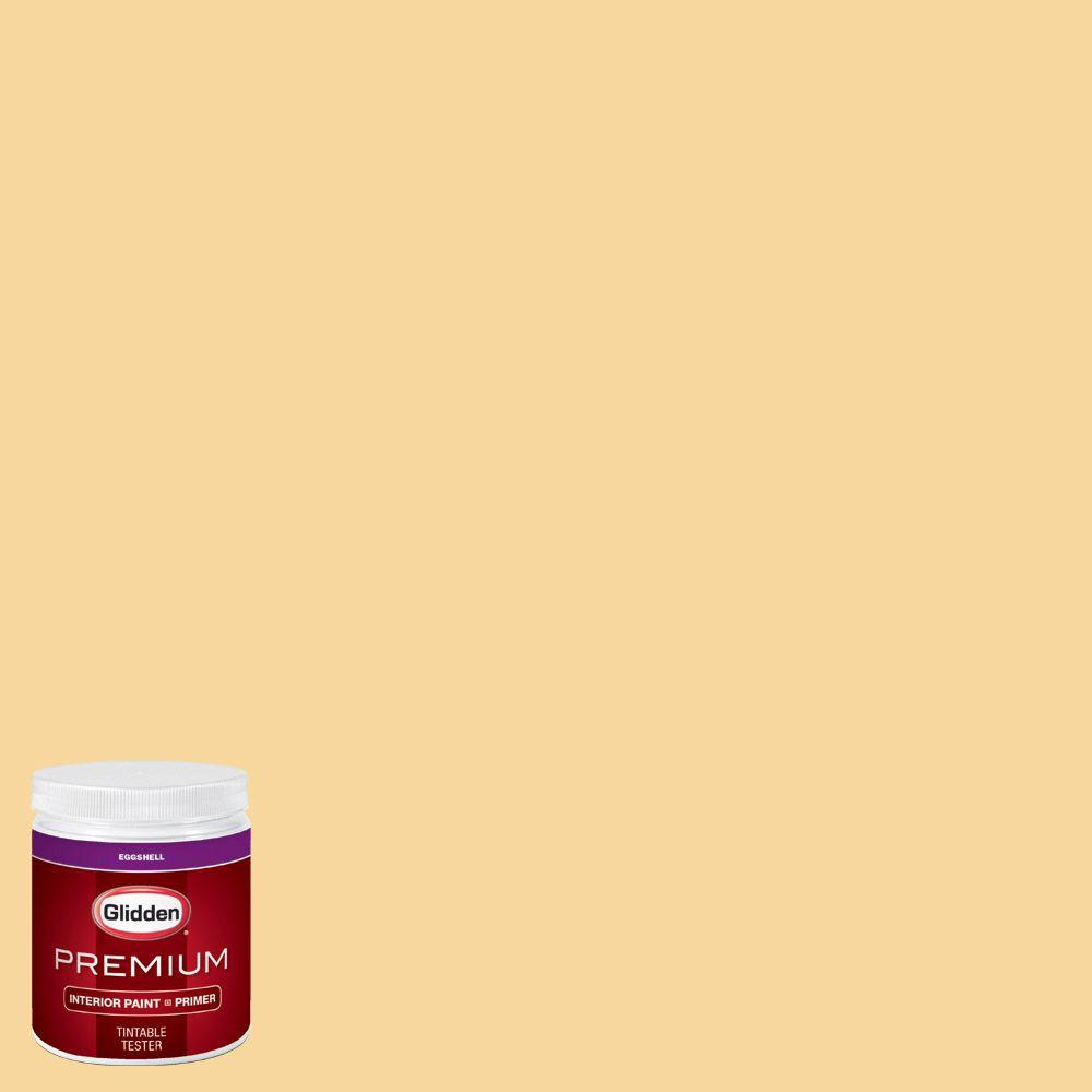 Glidden premium 8 oz hdgy19 jonquil yellow eggshell for Eggshell yellow paint