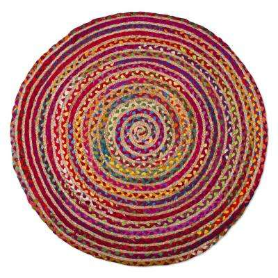 Bari Chindi Multi 3 ft. x 3 ft. Round Area Rug