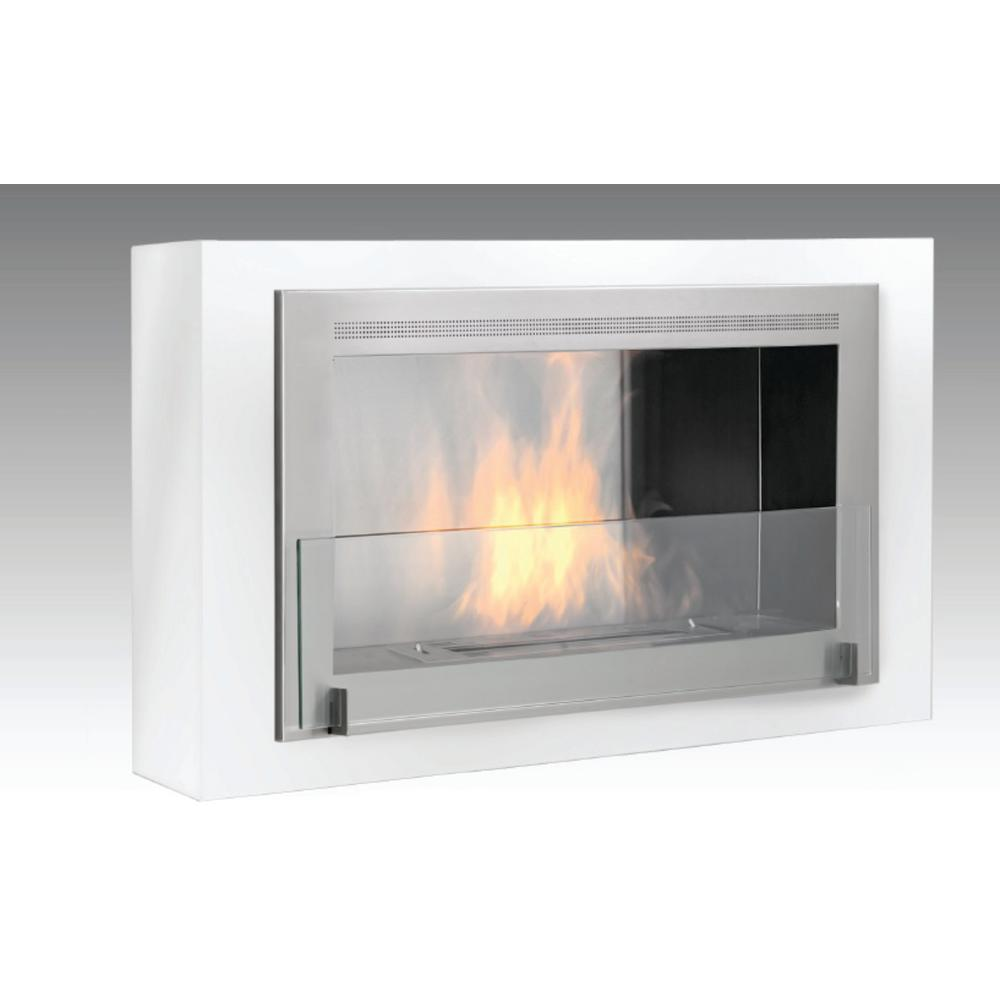 Montreal 41 in. Ethanol Wall Mounted Fireplace in Gloss White with