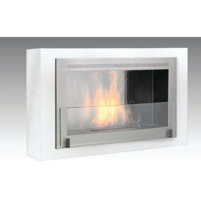Montreal 41 in. Ethanol Wall Mounted Fireplace in Gloss White with Stainless Interior