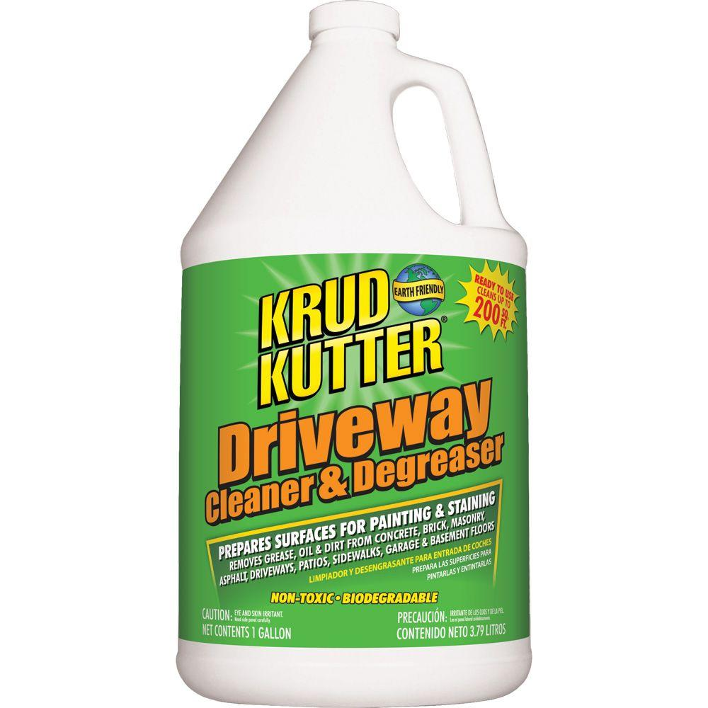Krud kutter 1 gal driveway cleaner and degreaser dc016 for Concrete cleaner oil remover