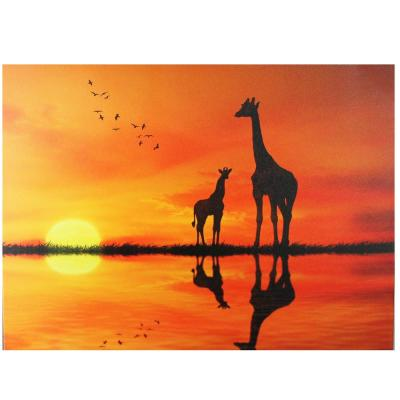 11.75 in. x 15.75 in. Safari Sunset LED Back Lit Giraffe and Baby Canvas Wall Art