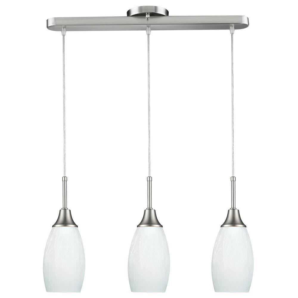 BELDI Peak Collection 3-Light White and Nickel Pendant