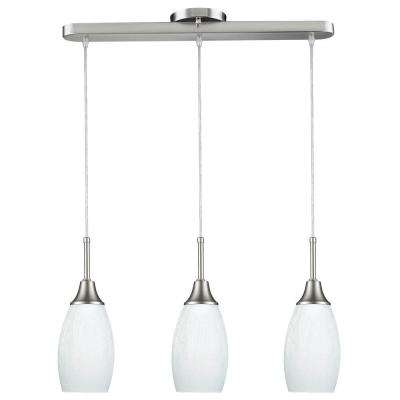 Peak Collection 3-Light White and Nickel Pendant