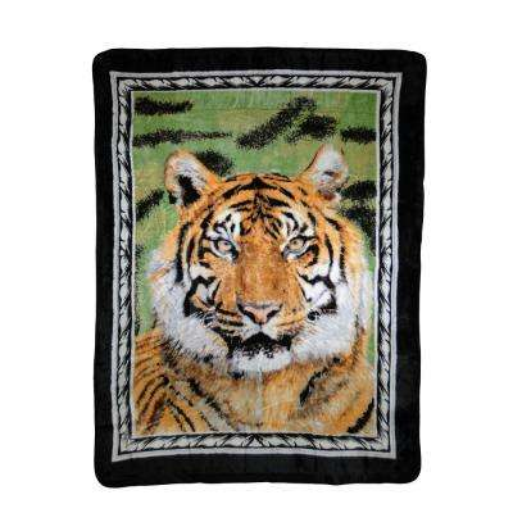 80 in. x 60 in. High Pile Tiger Portrait Raschel Knit Throw