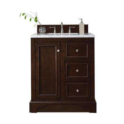 De Soto 30 in. W Single Vanity in Burnished Mahogany with Marble Vanity Top in Carrara White with White Basin