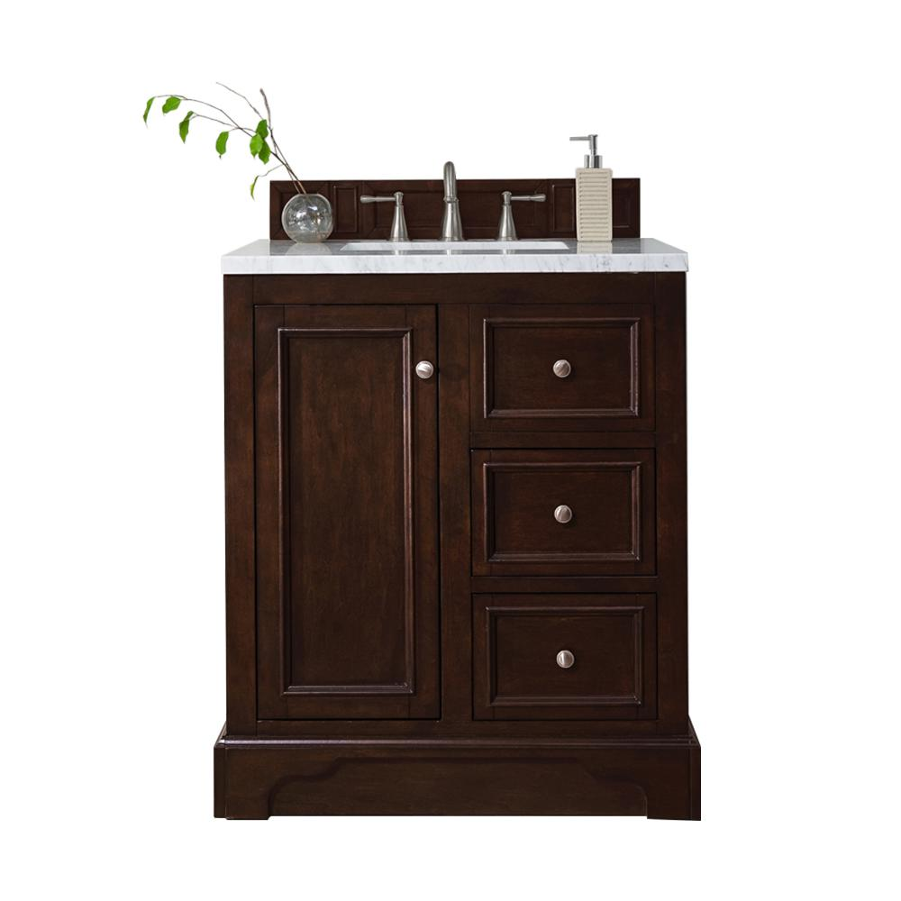 James Martin Signature Vanities De Soto 30 in. W Single Vanity in Burnished Mahogany with Marble Vanity Top in Carrara White with White Basin