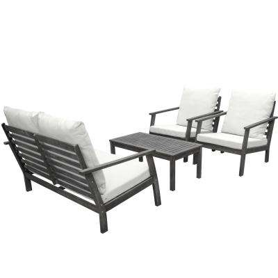 Renaissance 4-Piece Wood Patio Conversation Set with Cushions