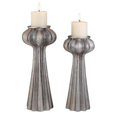 Silver Nautilus Polyresin Candleholders (Set of 2)