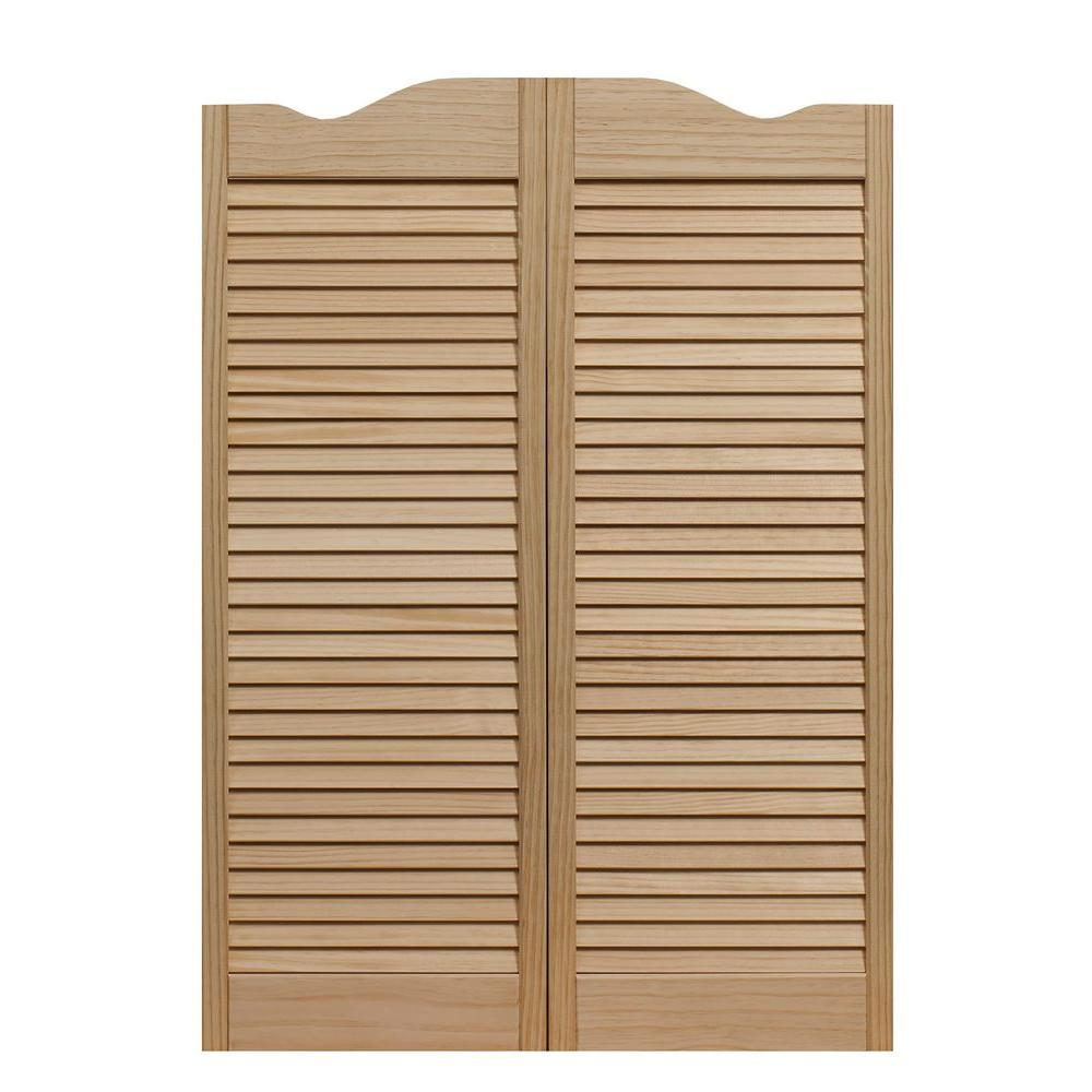 Pinecroft 30x42 Louvered Wood Cafe Door Interior Swinging Closet Door  Hardware