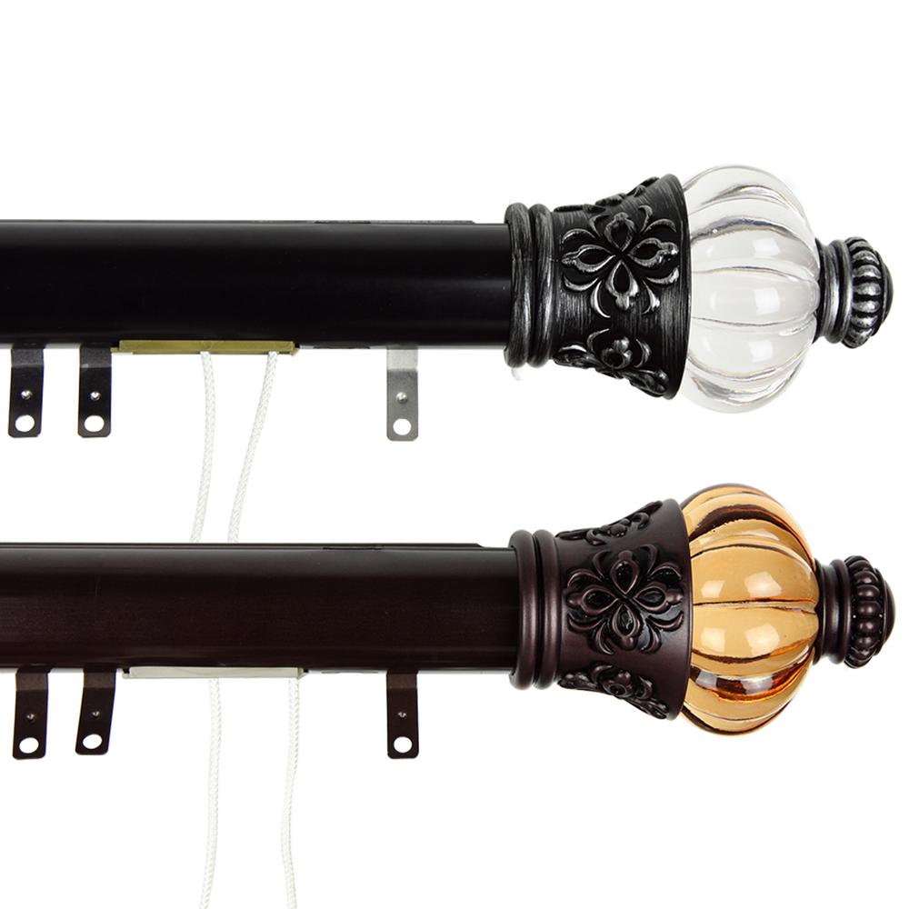 Rod Desyne 84 in. - 156 in. Royal Decorative Traverse Rod with Sliders in Black