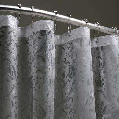Floral 72 In. Black 3D Shower Curtain