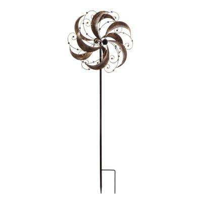 Antique Gold Elegance 70 in. Kinetic Wind Spinner