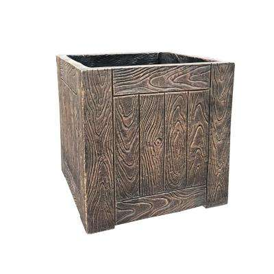 13.78 in. x 13.78 in. x13.78 in. Bronze Lightweight Concrete Wood Grain Cube Large Planter