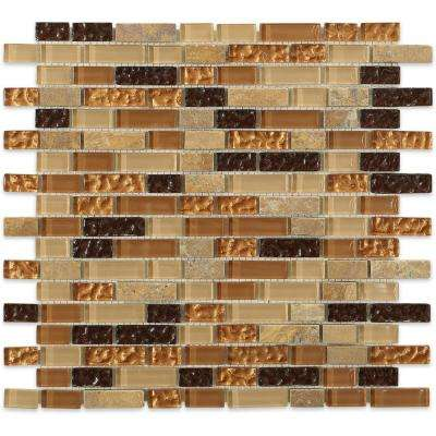 Golden Trail Blend Bricks 12 in. x 12-1/2 in. x 8 mm Marble and Glass Floor and Wall Tile