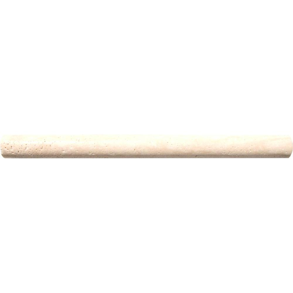 Chiaro Pencil Molding 3/4 in. x 12 in. Travertine Wall Tile